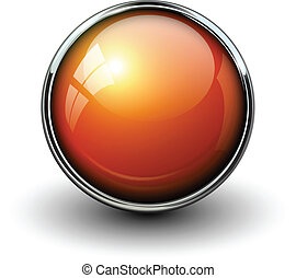 Orange shiny button with metallic elements, vector design...