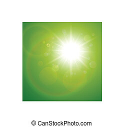 Green natural background with summer sun, vector
