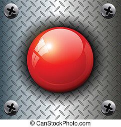 alarm  button - Red alarm shiny button background, vector.