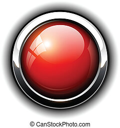 Red shiny button, vector design.