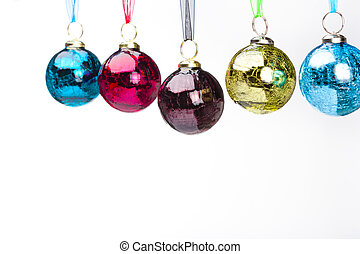five dangling ornaments - Five ornaments dangle in mid-air...