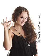 Its all right - Pretty girl in black dress with okay gesture...