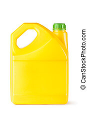 Yellow plastic canister for household chemicals. Isolated on...
