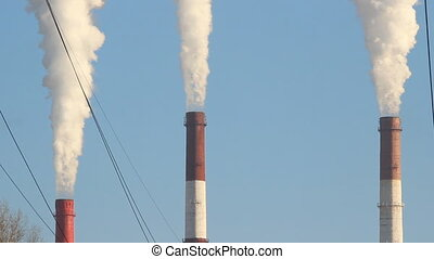 Thermal power plant, the smoke from the chimney.