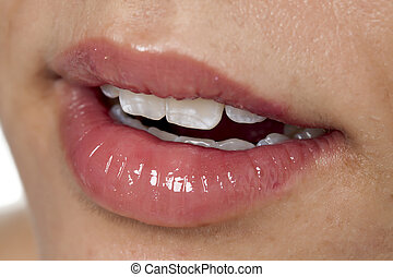 glossy lips of a woman - Closed up woman's glossy pink lips