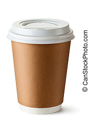 Take-out coffee in thermo cup Isolated on a white