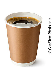 Take-out coffee in opened thermo cup Isolated on a white