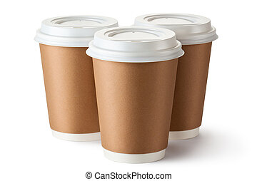 Three take-out coffee in cardboard thermo cup. Isolated on a...