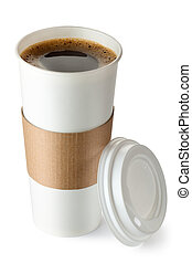 Opened take-out coffee with cup holder Isolated on a white
