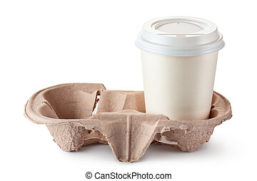 Disposable coffee cup in cardboard holder. Isolated on a...