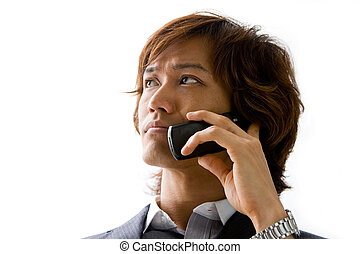 Asian business man and phone - Young Asian business man with...