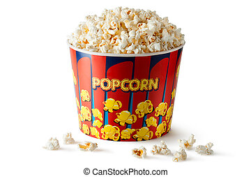 Big bucket of popcorn Isolated on a white