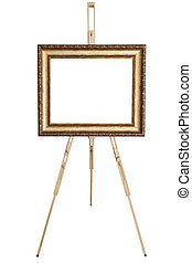 Blank art frame, wooden easel, front view, isolated on...