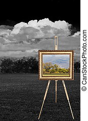 tripod with full color landscape canvas and background of...