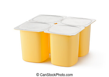 Four plastic containers for dairy products with foil lid...