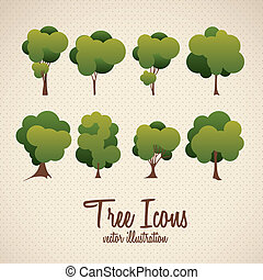 Tree icons - Illustration of tree icon with leaves, vector...