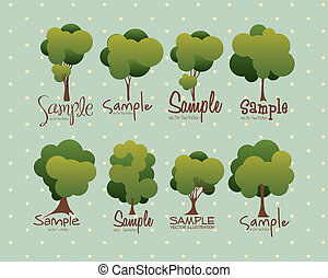 Tree icons - Illustration of tree icons with leaves, vector...