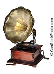 Vintage gramophone isolated. - Vintage gramophone and pipe...
