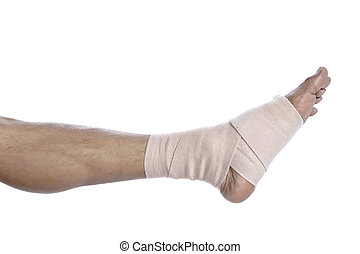 foot with a tensor bandage
