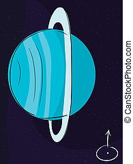 Planet Uranus with its rings in outer space