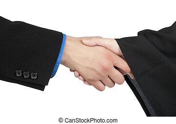 graduation hand shake - Closeup image of graduation hand...