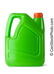 Green plastic canister for household chemicals. Isolated on...