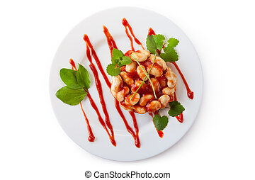 White beans in tomato sauce on a dish. Isolated on white.