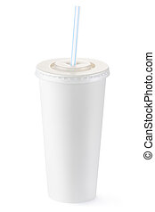 Disposable cup of big volume for beverages with straw....