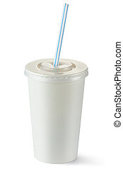 Disposable cup of middle volume for beverages with straw....