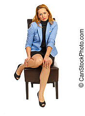 Executive woman hurting legs - Tired business woman with...