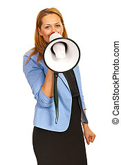 Business woman with megaphone - Business woman shouting...