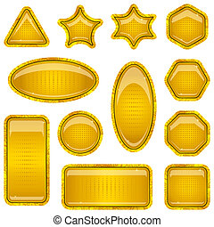Set gold buttons - Set gold icons, computer buttons...