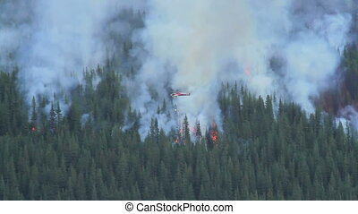 Helicopters and prescribed burn - Helicopters patrolling a...