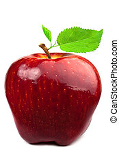 Dark-red apple with leaves - Dark-red apple Isolated on...