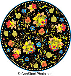 Khokhloma. - Vector illustration of floral traditional...