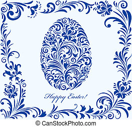 floral easter egg - Vector illustration of floral easter egg...