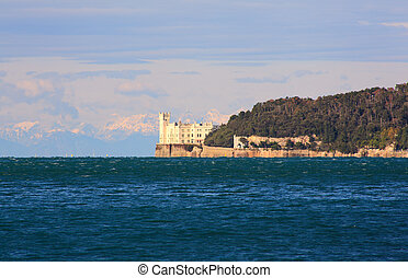 Miramare castle in Trieste - View of famous Miramare castle...