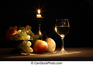 Fruits And Wine - Vintage still life with fruits in bowl and...