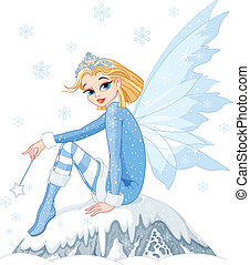 Winter fairy - Beautiful Winter fairy sitting on ice rock