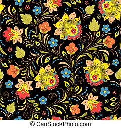 Khokhloma. - Vector illustration of seamless pattern with...