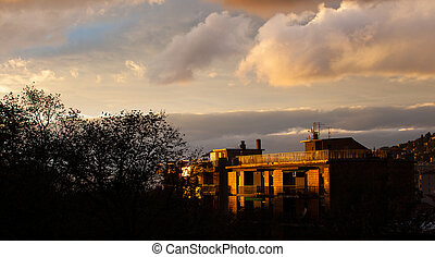 Cloudy sky in Trieste - View of Cloudy sky in Trieste at...