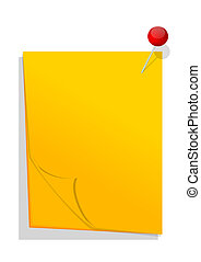 Yellow paper with red pin