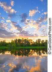 Evening over the Narew river - Beautiful landscape with...