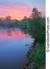 Warm pink sky over the Narew river, Poland. - The morning...