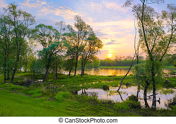 Sunrise over the Narew river, Poland. - Landscape with...