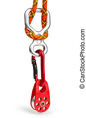 Climbing equipment - pulley, rope, carabiner, figure eight;...