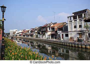 River in Melaka - Old houses on the river in Melaka,...