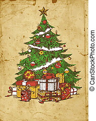 Christmas tree - Hand drawn Christmas tree and gifts