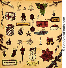 Chritmas set - Hand drawn collection of Christmas related...