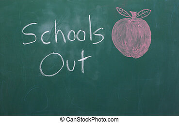 School\\\'s Out - A chalkbor with School\\\'s Out written on...
